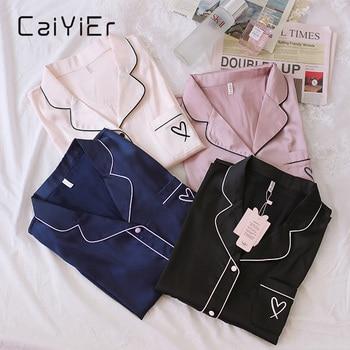 CAIYIER 2020 Summer Sexy Silk Pajamas Set Love Embroidery + Short Sleepwear Ladies Soft Leisure Nightwear Mujer Pijama M-3XL 1
