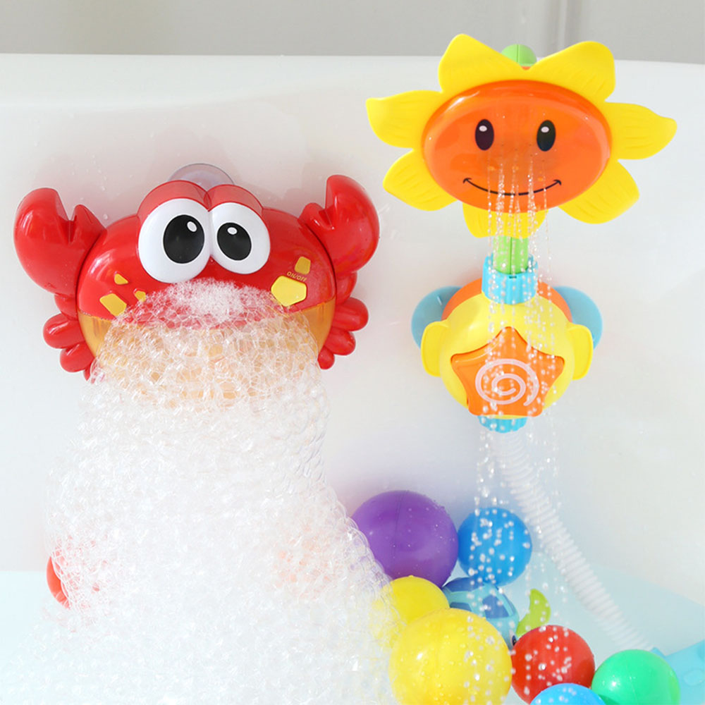 Kids Shower Bath Toys Cute Bubble Crabs Sunflower For Bathroom Baby Faucet Bathing Water Spray Tool Dabbling Toy Dropshipping