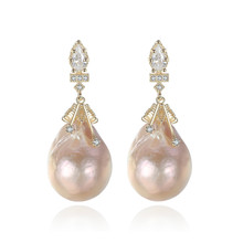 YUEYIN Silver 925 Dangle Earrings Gold Plated Baroque Shaped Pearl  for Women Korean Bohemian Jewelry Boutique
