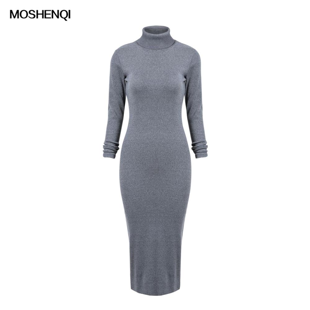 MOSHENQI Winter Thicken Knitted Dress Women Long Sweater Jurk Solid Slim Turtleneck Warm Split Autumn Knit Dress Female