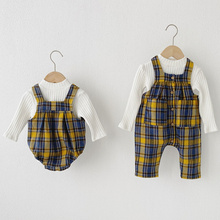 Newborn Sets 2021 Baby Boy Girl White Long Sleeve Knit Shirt And Plaid Romper Jumpsuit 2pcs Outfits Infant Clothes Suit Overalls