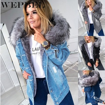 WEPBEL Autumn Fashion Long Sleeve Single-Breasted Straight Warm Jacket Women's Vintage Hole Solid Color Fur Collar Denim Jacket vintage single breasted solid color furcal denim suspender skirt