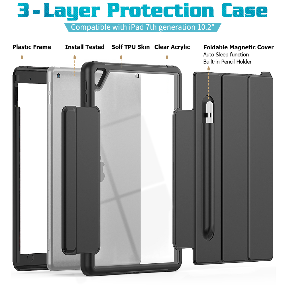 10.2 Auto Generation iPad 2019 Stand Case Smart For inch Gen 7th Case Sleep/Wake 8th