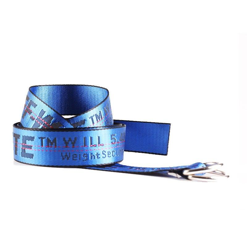 TagerWilen ремень стиль буквы напечатаны мода унисекс двойное D Кольцо холст ремень длинные джинсы ремни для женщин брезентовый мужской ремень - Цвет: Off-Blue