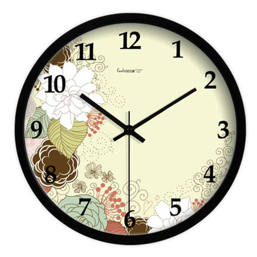 Horloge murale moderne grand verre horloge mouvement silencieux en plastique numérique fleur grand mur montres décor à la maison Reloj De Pared BB50W