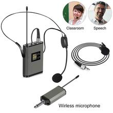 pro uhf dual channels wireless microphone mic system with 2 bodypack transmitter 2 headset 1 receiver audio cable power adapter Mini Portable Headset Wireless Microphone 3.5/6.35 mm Wireless Mic with Transmitter Mini Receiver Headset and Lavalier Drop Ship