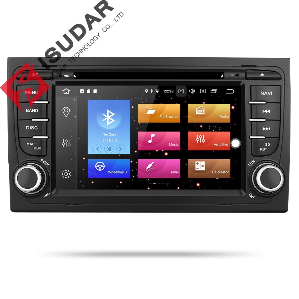 Isudar 9 2 Din Rádio Auto Android Para A4/S4/Audi 2002-2008 GPS Car Multimedia Player RAM Núcleo octa 64 4GB ROM GB DVD DVR USB DSP
