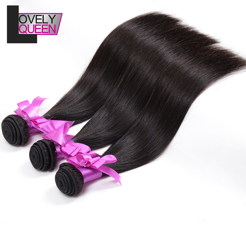 Lovely Queen Hair Straight Hair Bundles Human Hair 3 Bundles Weaves Non Remy Natural Color