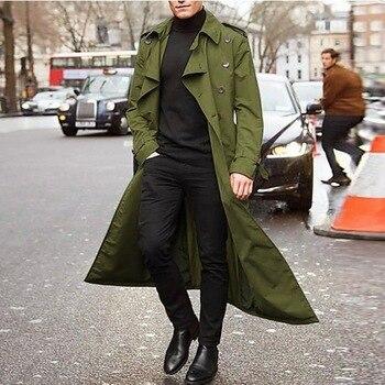 2020 Trench Coat Mens Overcoat Casual Slim Fit Windbreak Plus Size Solid Long Coat Men Fashion Spring Jacket  Homme 1