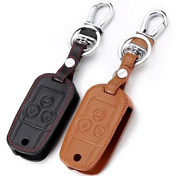 De cuero caso clave de coche llave cadena para Honda Accord de la ciudad de cívica Crv element fit Hrv odisea Crider Jed llavero cubierta
