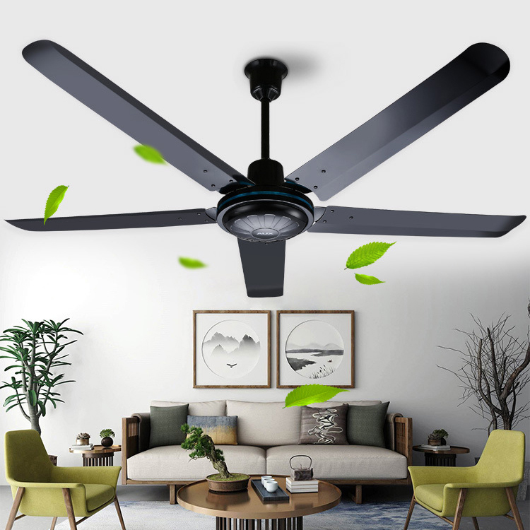Industrial Large Ceiling Fan 56 Inch Black With Remote Control Fashion Ceiling Fan With Five Metal Blade 100w