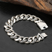 Real 925 Sterling Silver Width 17mm Simeple friendship Bracelet Thai silver Jewelry 2019 Men Women bracelets Bangle(China)