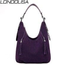 新レディーススエード革ハンドバッグ高品質の高級ハンドバッグの女性のバッグデザイナーシンプルなタッセルショルダーバッグ女性のための 2019トップハンドルバッグ
