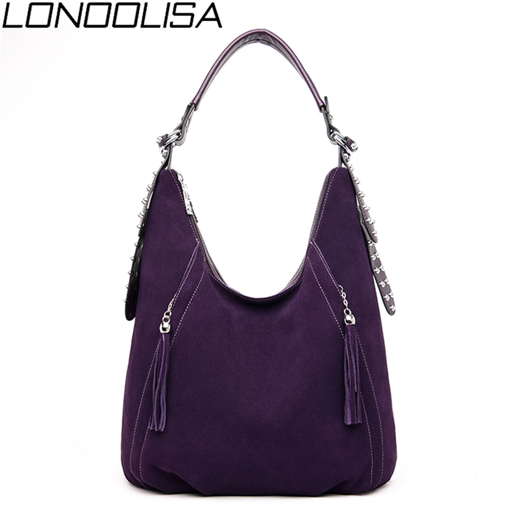New Ladies Suede Leather Hand Bags High Quality Luxury Handbags Women Bags Designer Simple Tassel Shoulder Bags For Women 2019