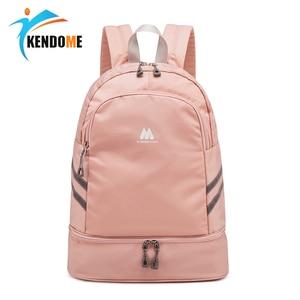 Image 1 - Women Pink Sport Gym Bag Waterproof Fitness Swimming Backpack Yoga Training Bag Shoe Compartment Travel Luggage Bag Sac De Sport