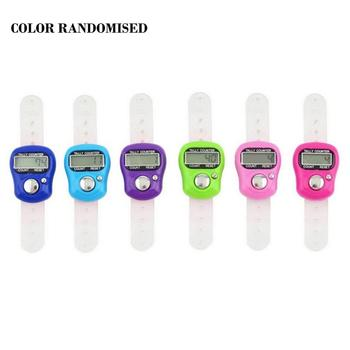 Portable 1PCS Electronic Digital Counter Mini LCD Hand Held Finger Ring Tally Counter Stitch Marker Plastic Row Color Random image