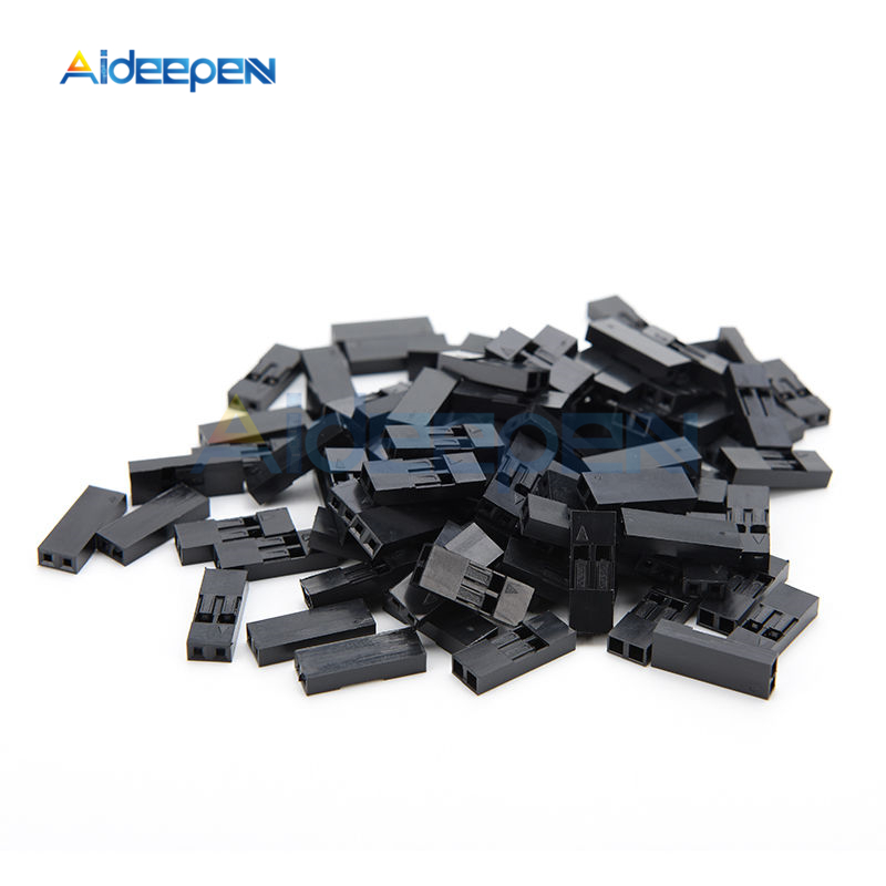 100Pcs/set 1 Pin 2 Pin 2.54mm Male/Female Dupont Jumper Wire Cable Connector Terminal With Black Plastic Housing Case Shell Box