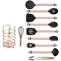 11Pcs Copper Plated Handle Silicone Kitchen Tools Gadgets Nonstick Cooking Shovel Spoon Tool Set Kitchen Utensils Set Cookware|Dinner Knives|   -