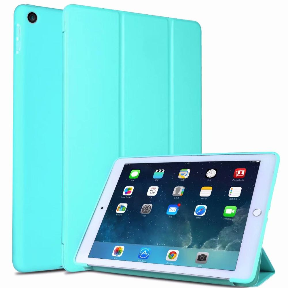 4 Green Slim light Tablet Case For Ipad 10 2 Soft TPU Tri fold Smart Cover For iPad