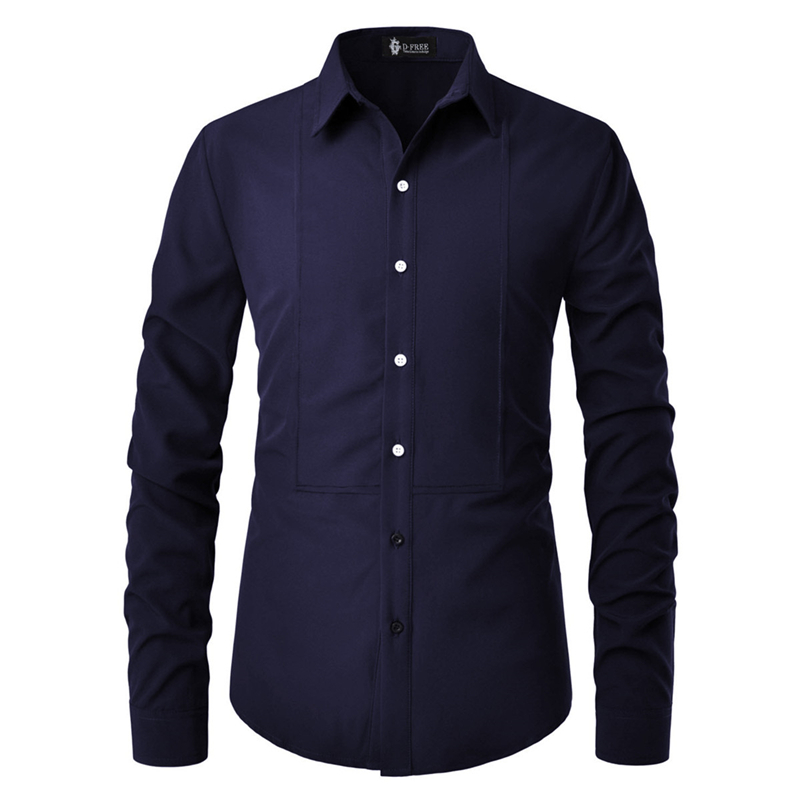2020 Man Casual Long Sleeved Solid Shirt Men Slim Fit Male Social Business Dress Shirt Brand Korean Clothing Tuxedo Shirt Office
