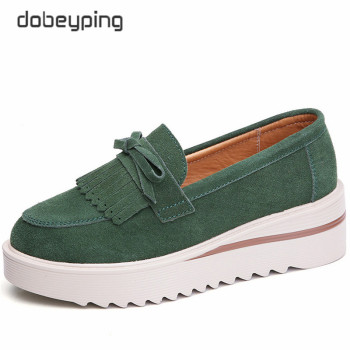 New Spring Autumn Platforms Shoes Woman Casual Suede Leather Tassel Women Flats Thick Sole Women's Loafers Moccasins Female Shoe dobeyping genuine leather woman flats new winter plush boat shoe women keep warm female loafers moccasins mother cotton shoes