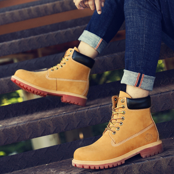 Natural Leather Men Boots Handmade Retro Winter Shoes Men Nubuck Waterproof Ankle Snow Boots Top Quality Men Shoes handmade retro style men boots natural leather ankle boots waterproof working boots outdoor classic autumn shoes men