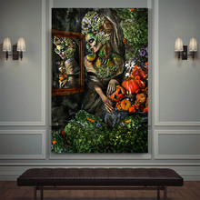Abstract Contemplator African gold Woman Oil Painting on Canvas Posters and Prints Scandinavian Wall Art Picture for living Room