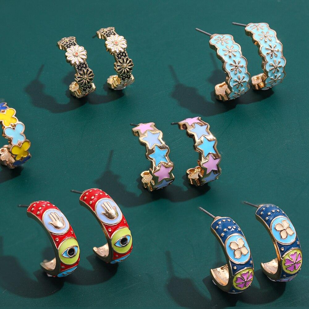 New Fashion butterfly Flower Star Enamel C-Shape Stud Earrings For Women Korean Cute Vintage Evil Eye Hand Earring Charm Jewelry