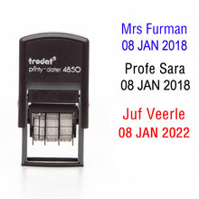 1984-carimbo feito sob encomenda da data, seu texto/seu nome, selo da assinatura do professor
