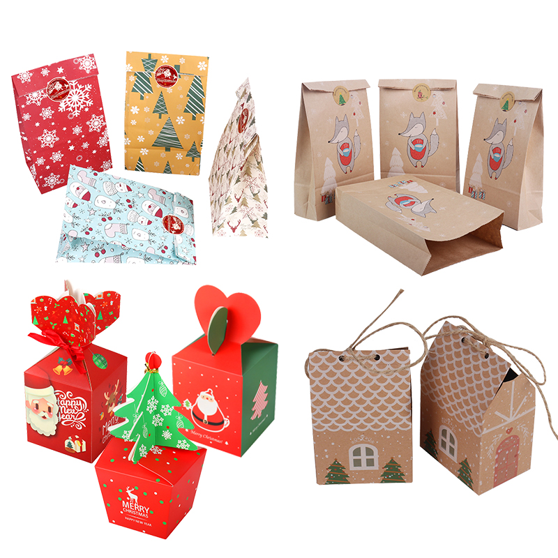 MEIDDING Merry Christmas Gift Bags Xmas Tree Plastic Packing Bag Snowflake Christmas Candy Box New Year Kids Favors Bag