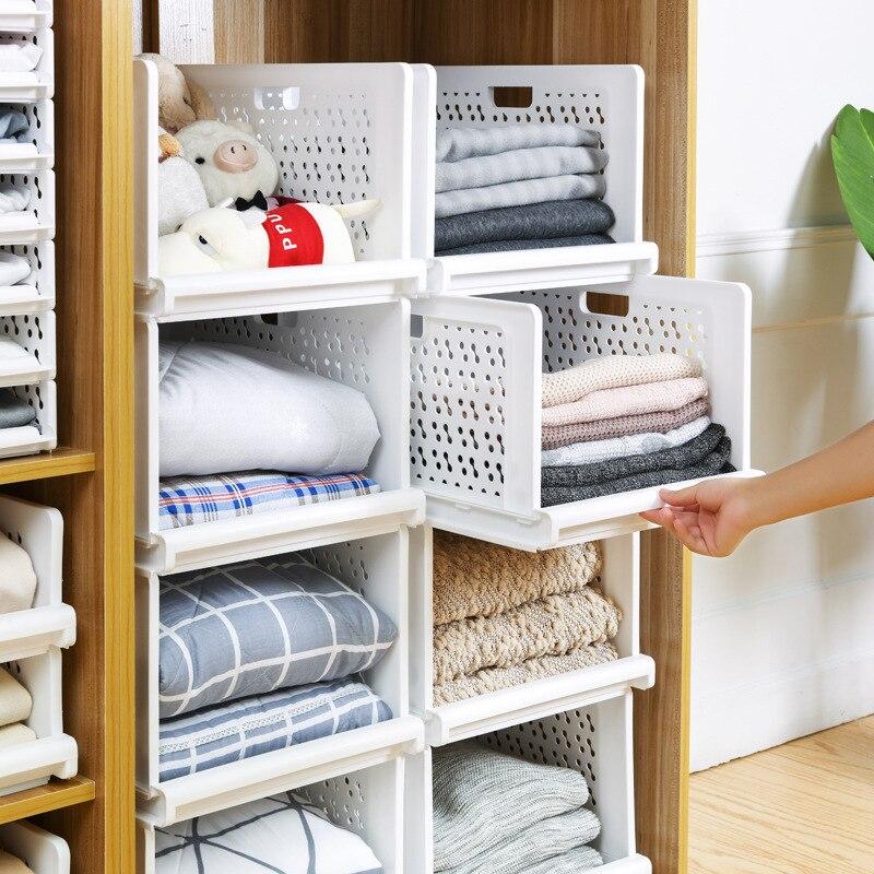 Eisen Card Clothes Folding Storage Basket Household Wardrobe Storage Plastic Storage Box Storage Shelf Drawer-type-Superimposed