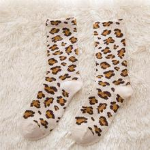 3 Pairs Leopard Socks Mid-tube Thicken for Girls Autumn Winter Warm Stockings Women e girl Floor
