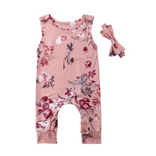 цена на Brand New Toddler Infant Newborn Kids Baby Boy Girl Romper Headband 2Pcs Sets Sleeveless Jumpsuit Children Summer Clothing