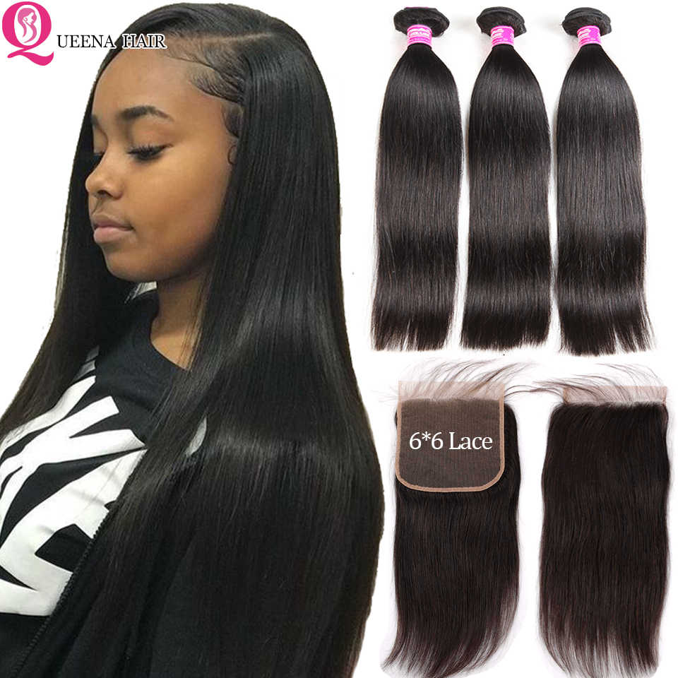 6*6 Lace Closure With Bundles Straight Brazilian Hair Weave Bundles With Closure Pre Plucked Human Hair 3 Bundles With Closure