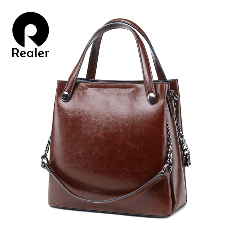 REALER Leather Luxury Handbags Women Bags 2019 Designer Fashion Shoulder Bag Quality Leather Crossbody Bags For Women Messenger