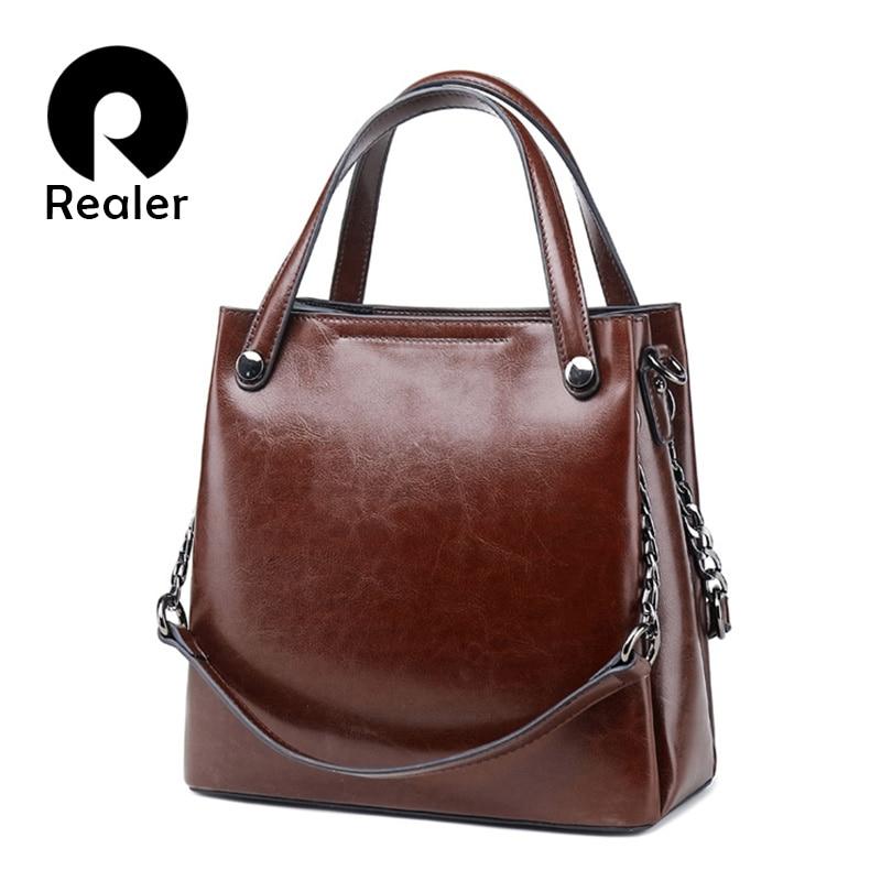 REALER Leather Luxury Handbags Women Bags 2019 Designer Fashion Shoulder Bag Quality Leather Crossbody Bags For Women Messenger