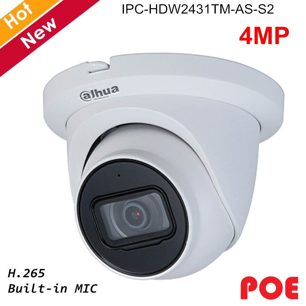 Dahua 4MP Lite Series Network IP Camera IPC-HDW2431TM-AS-S2 H.265 Built In MIC And IR Led Intelligent Detection Support POE