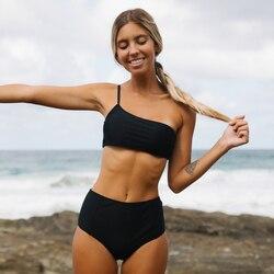 Kobiety stałe Bikini Sexy strój kąpielowy na jedno ramię czarne Bikini Set stroje kąpielowe lato zakrętka tubki strój kąpielowy Femlae kostiumy kąpielowe Biquini 1