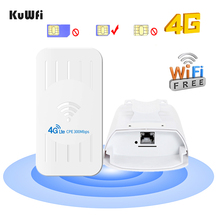 KuWFi Outdoor 4G CPE Router FDD/TDD 3G/4G Wifi Sim Card 300Mbps Wireless Wifi Repeater With 24V POE Adapter Up to 32 Users