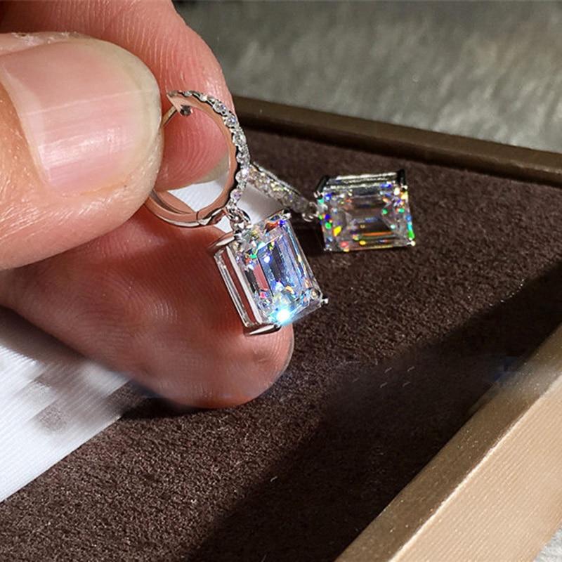 Huitan Square Princess Cut Zircon Stone Drop Earring for Women Simple Design Elegant Lady Accessories Wedding Band Jewelry Hot