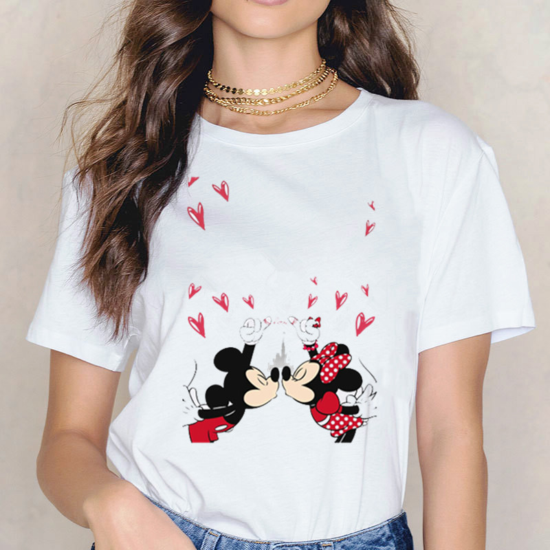Women's Mouse Kiss Printing T-shirt Korean Style Harajuku Casual Cotton Kawaii Women Shirt Plus Size Tops
