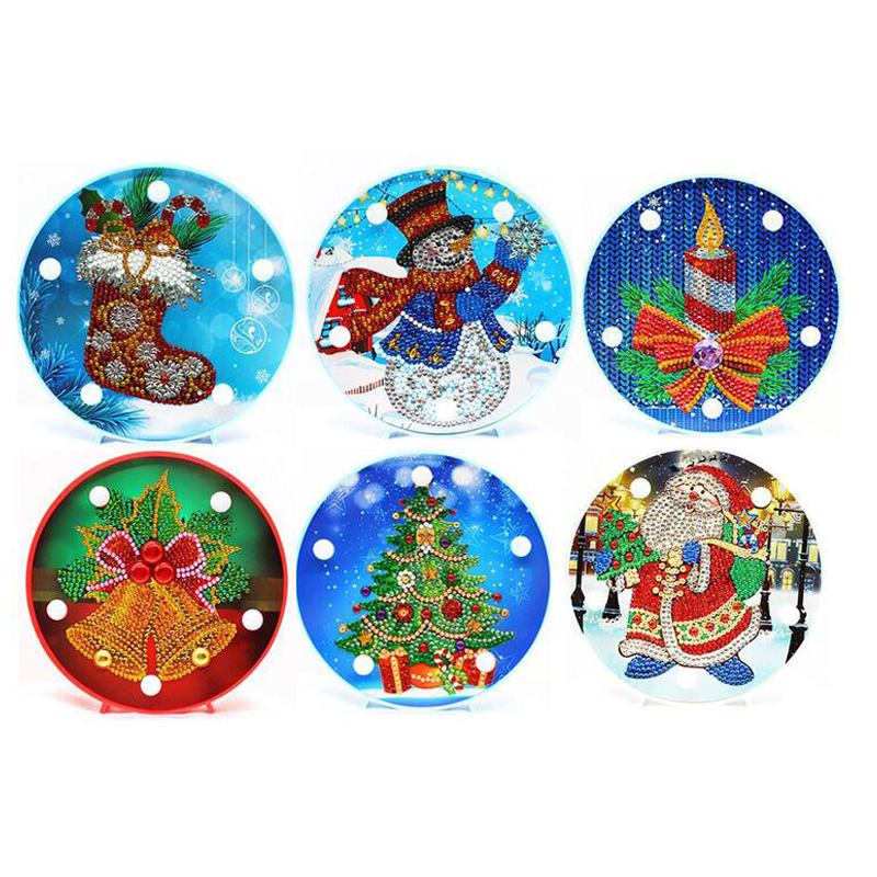 Hot Gift Santa Claus Sock,Christmas Tree Diy Diamond Painting Led Light Night Lamp Candle Full Pasted Embroidery,Painting