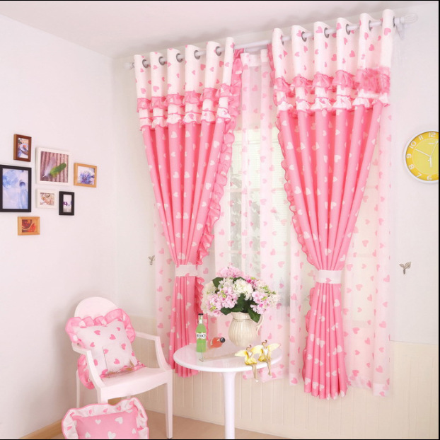 Korean Pastoral Sweet and Warm Love Curtains for Living Dining Room Bedroom.