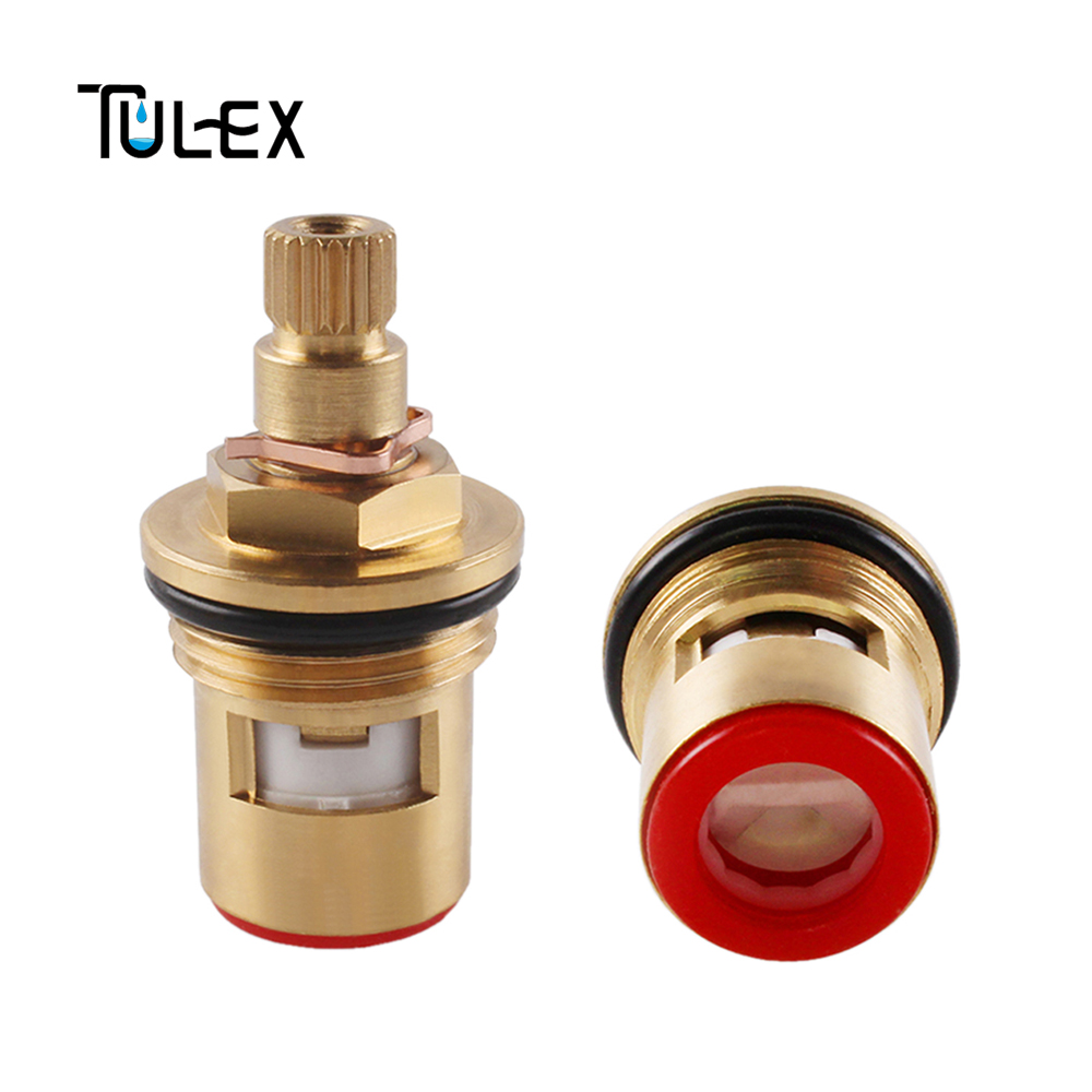 TULEX Ceramic Disc Faucet Cartridge Water Mixer Tap Inner Replacement Part Brass Made Quarter Turn Quality Faucet Accessories