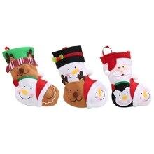 Рождественские чулки мини-носок, Подарочная сумка конфет для детей, Рождественская елка, декор на год, рождественские украшения для дома 1/3/4/шт