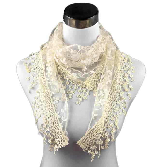 แฟชั่นลูกไม้ Sheer Floral พิมพ์ Mantilla ผ้าพันคอผู้หญิงผ้าคลุมไหล่ฤดูใบไม้ร่วงฤดูหนาวผ้าพันคอสำหรับสุภาพสตรี Elegant ผ้าคลุมไหล่ sjaal