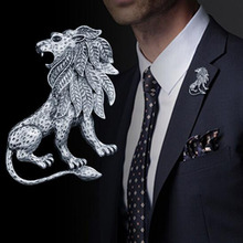 Creative Animal Lion Brooch Pin Gift for Man Suit Collar Scarf Gold Silver Lapel Badge Pins Accessories Fashion Jewelry