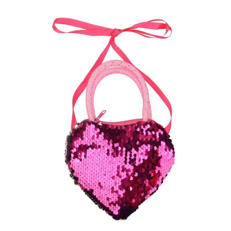 Sweet Girls Kid Sequin Heart Shaped Ribbon Long Strap Purse Coin Handbag Pocket Bag