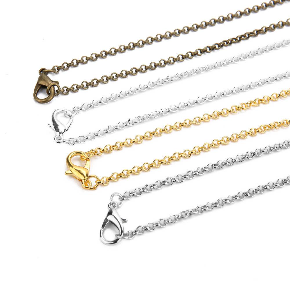 10 Buah/Banyak Emas Antik Perunggu Warna 3 Mm Bulat Kalung Rantai Link dengan Lobster Gesper 60 Cm Cocok DIY Perhiasan membuat Temuan