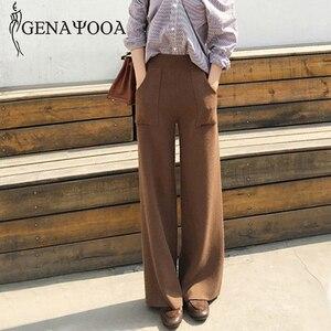 Image 1 - Genayoua Knitting Plus Size spodnie damskie spodnie na co dzień szerokie nogawki wysokiej talii eleganckie spodnie urząd Lady odzież robocza damskie spodnie 2019